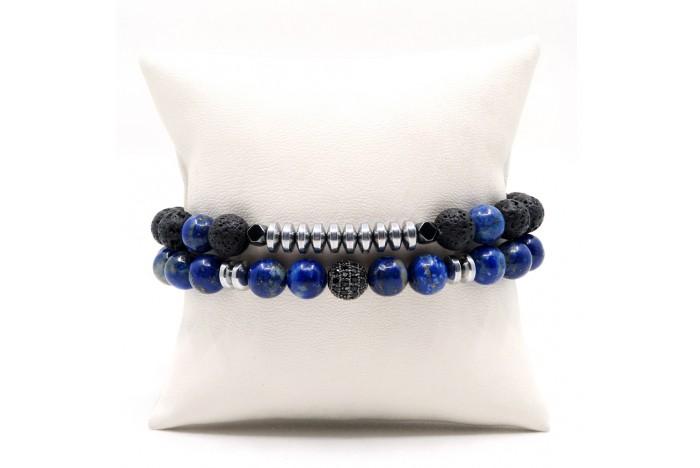 Lapis Lazuli ve Lav Doğal Taşlı Kombin Bileklik