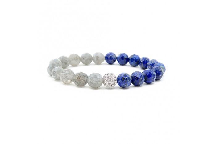 Faset Kesimli Lapis Lazuli ve Labradorit Doğal Taşlı Bileklik