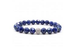 Faset Kesimli Zirkon Objeli Lapis Lazuli Doğal Taşlı Bileklik