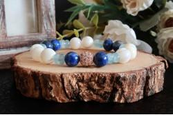 Lapis Lazuli , Akuamarin ve Sedef Doğal Taşlı Bileklik