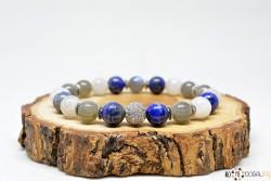 Ay Taşı, Lapis Lazuli ve Labradorit Doğal Taşlı Bileklik